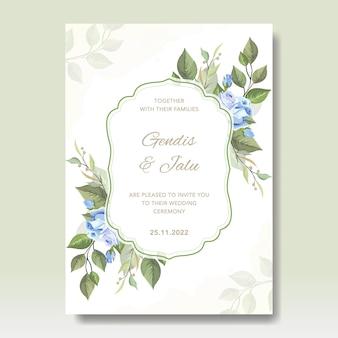 Bruiloft kaartsjabloon met bloemen vector