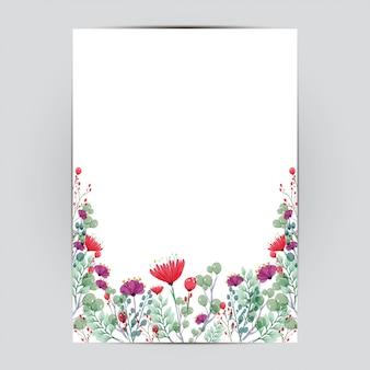 Bruiloft kaartsjabloon met bloemen