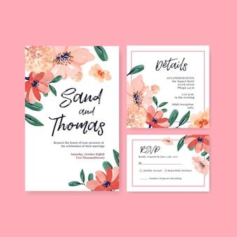 Bruiloft kaartsjabloon met borstel florals conceptontwerp voor uitnodiging en trouwen met aquarel