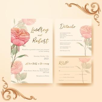 Bruiloft kaartsjabloon met cottagecore bloemen concept, aquarel stijl