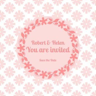 Bruiloft kaartsjabloon met florale frame
