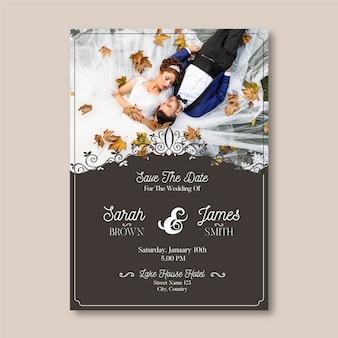 Bruiloft kaartsjabloon met foto