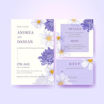 Bruiloft kaartsjabloon met lente heldere concept aquarel illustratie