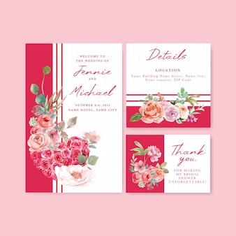 Bruiloft kaartsjabloon met liefde bloeiende conceptontwerp aquarel illustratie