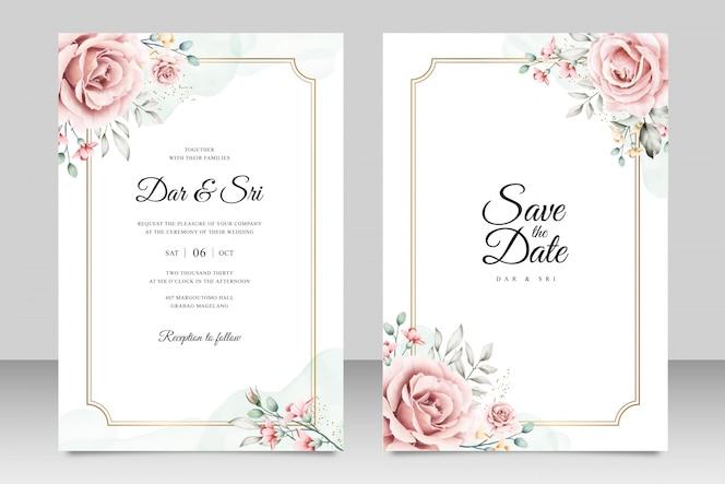 Bruiloft kaartsjabloon met minimalistische bloemen aquarel