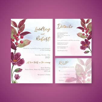 Bruiloft kaartsjabloon met muave rode bloemen concept, aquarel stijl