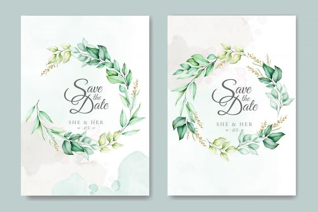 Bruiloft kaartsjabloon met prachtige aquarel bladeren