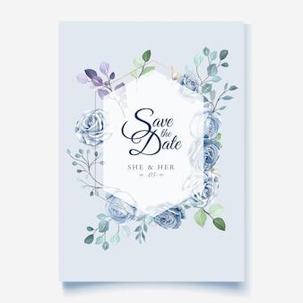 Bruiloft kaartsjabloon met prachtige blauwe bloemen krans