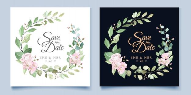 Bruiloft kaartsjabloon met prachtige bloemen krans