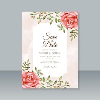 Bruiloft kaartsjabloon met rode roos aquarel schilderij