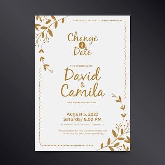 Bruiloft kaartsjabloon met uitgestelde datum