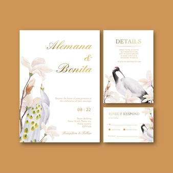 Bruiloft kaartsjabloon met vogel en chinese bloem concept, aquarel stijl