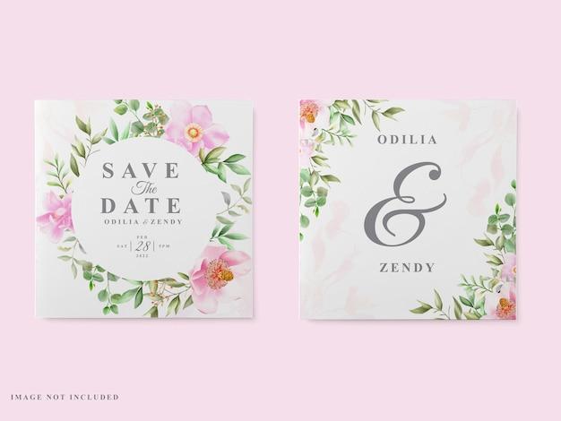 Bruiloft kaartsjabloon roze magnolia ontwerp
