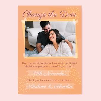 Bruiloft kaartsjabloon uitgesteld