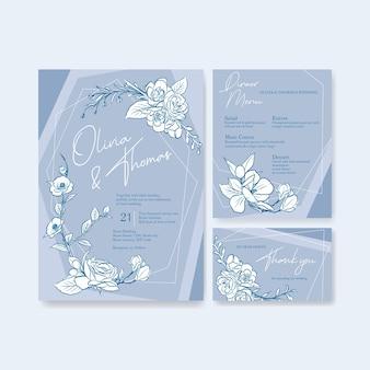 Bruiloft kaartsjabloon voor uitnodiging en huwelijk
