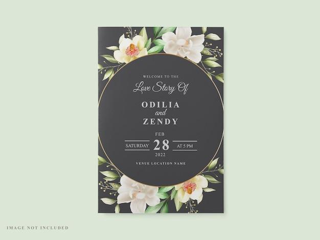 Bruiloft kaartsjabloon wit magnolia ontwerp