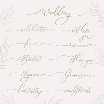 Bruiloft kalligrafische inscripties