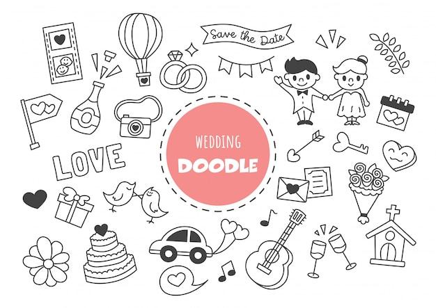 Bruiloft kawaii doodle