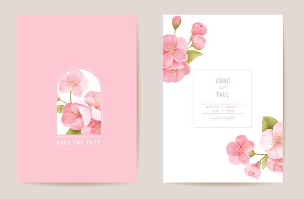 Bruiloft kersen bloemen vector kaart, exotische sakura bloemen, verlaat uitnodiging. aquarel sjabloon frame. botanische save the date gebladerte cover, moderne poster, trendy design, luxe achtergrond