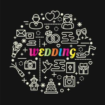 Bruiloft kleurrijke verloop met lijn pictogrammen instellen