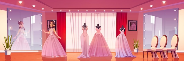 Bruiloft kust met vrouw passende bruid jurk