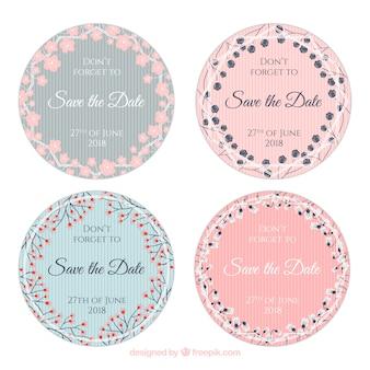 Bruiloft labels-collectie met bloemen