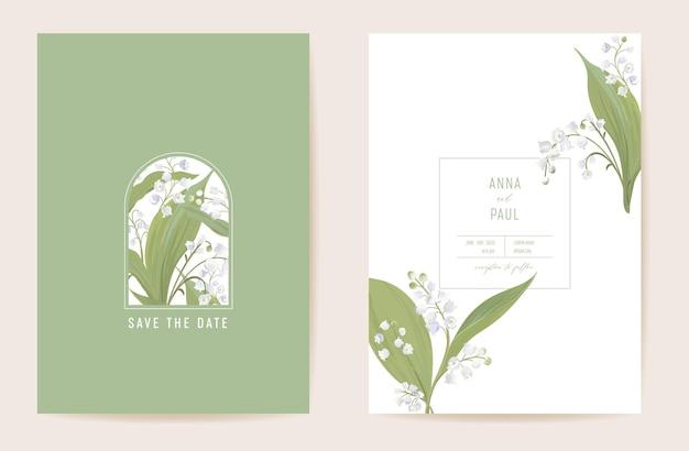 Bruiloft lelie bloemen save the date set. vector lentebloemen, bladeren boho uitnodigingskaart. aquarel sjabloon pastel frame, valentijn cover, modern achtergrondontwerp, behang