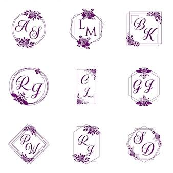 Bruiloft logo collectie vector