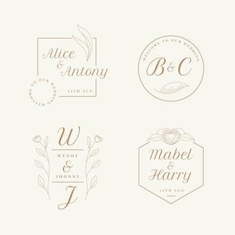 Bruiloft logo decorontwerp plat