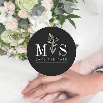 Bruiloft logo met de datum opslaan