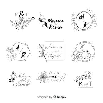 Bruiloft logo's met monogram letters
