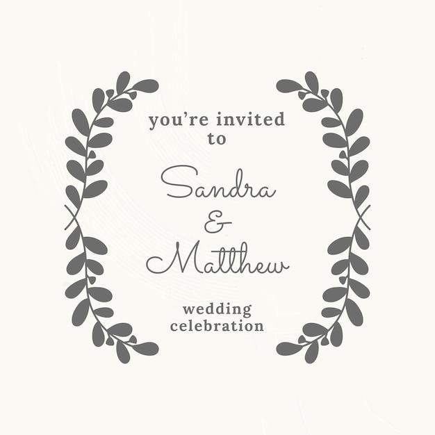 Bruiloft logo vector sjabloon in botanische stijl