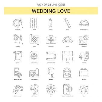Bruiloft love line icon set - 25 gestippelde overzichtsstijl