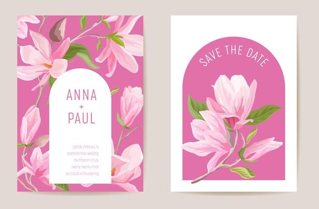 Bruiloft magnolia lente bloemen uitnodiging, bloem kaart. aquarel minimale sjabloon vector. botanische save the date gebladerte moderne poster, trendy design, luxe achtergrond, cover