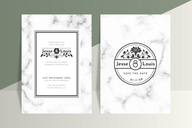 Bruiloft marmeren kaart concept voor sjabloon