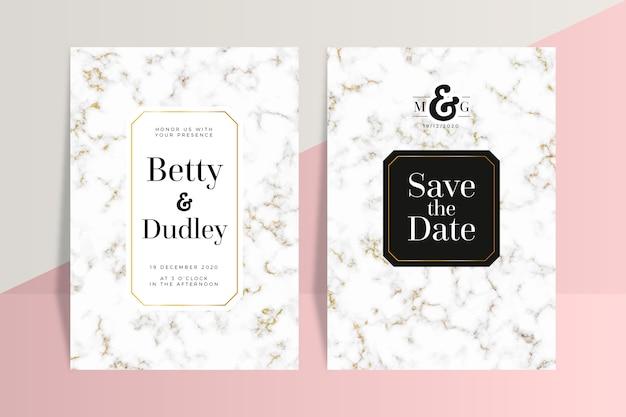 Bruiloft marmeren kaart sjabloon concept