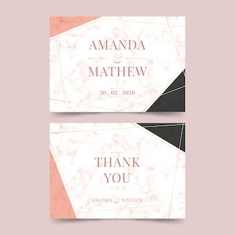 Bruiloft marmeren kaartsjabloon