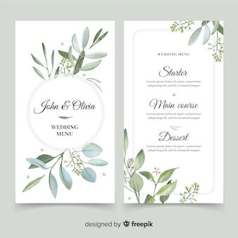 Bruiloft menu met bladerdek ontwerp