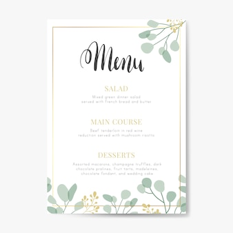Bruiloft menu ontwerp