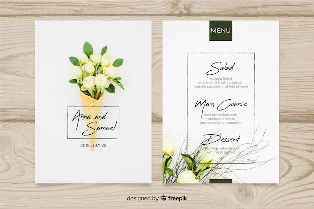 Bruiloft menusjabloon met foto