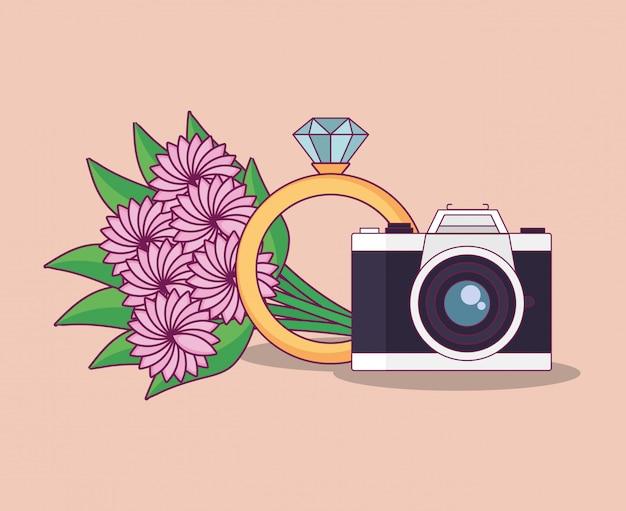 Bruiloft met boeket bloemen