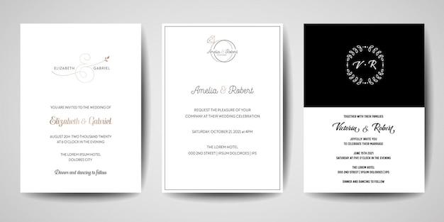 Bruiloft monogram logo's collectie, hand getekende moderne minimalistische en florale sjablonen voor uitnodigingskaarten, save the date, elegante identiteit voor restaurant, boetiek, café in vector