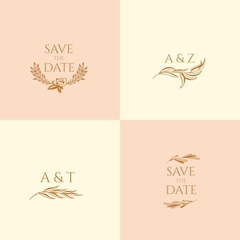 Bruiloft monogrammen in pastel kleuren en bewaar de datum