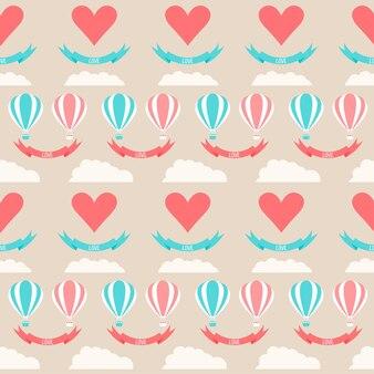 Bruiloft naadloze romantische achtergrond met cartoon elementen geïsoleerd op stijlvolle blauwe achtergrond voor gebruik in ontwerp voor kaart, uitnodiging, poster, plakkaat cover