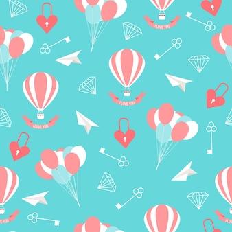 Bruiloft naadloze romantische decoratieve patroon achtergrond met cartoon elementen geïsoleerd op stijlvolle achtergrond voor gebruik in ontwerp voor kaart, uitnodiging, poster, spandoek, plakkaat, billboard dekking