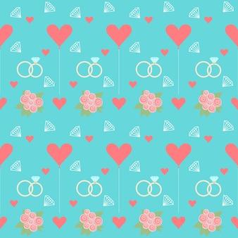Bruiloft naadloze romantische decoratieve patroon achtergrond met cartoon elementen geïsoleerd op stijlvolle blauwe achtergrond voor gebruik in ontwerp voor kaart, uitnodiging, poster, plakkaat dekking