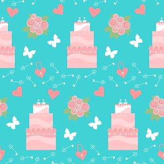 Bruiloft naadloze romantische decoratieve patroon achtergrond met cartoon taart en elementen geïsoleerd op stijlvolle achtergrond voor gebruik in ontwerp voor kaart, uitnodiging, poster, spandoek, plakkaat, billboard dekking