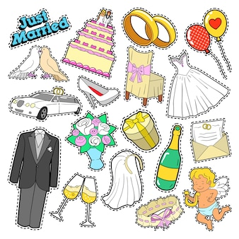 Bruiloft net getrouwd doodle voor plakboek, stickers, patches, badges.