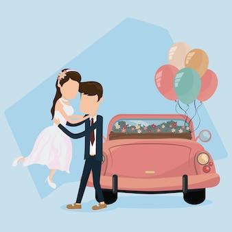 Bruiloft net getrouwd kaart