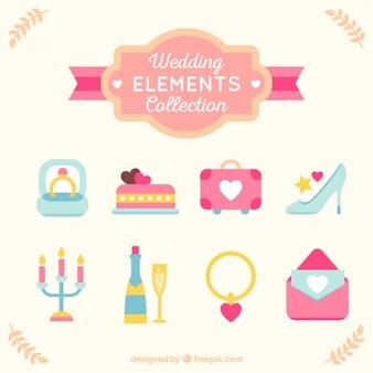 Bruiloft objecten in plat design